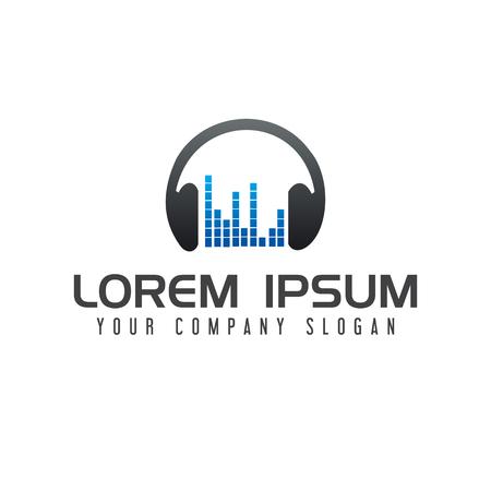 음악 엔터테인먼트 로고. 헤드폰 로고 디자인 컨셉 템플릿