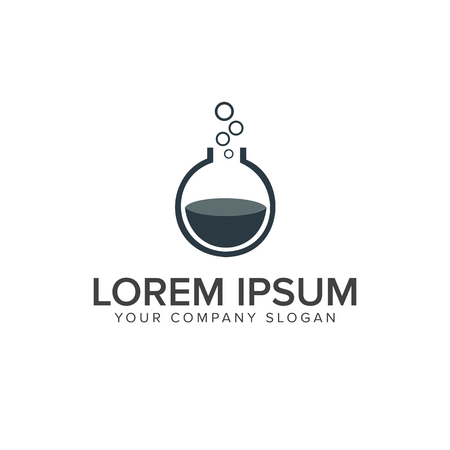 Lab logo. flask glass logo design concept template Illustration