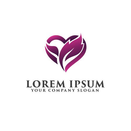 Leaf love heart logo, romantic logo design concept template Illustration