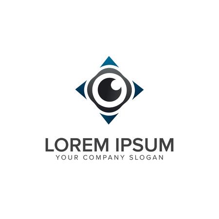 Eye compass logo design concept template