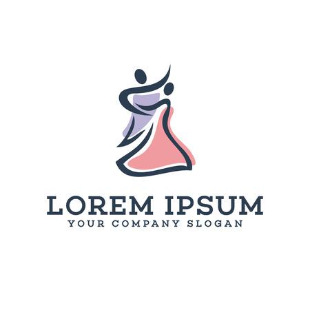 Dansende mensen logo ontwerp concept sjabloon