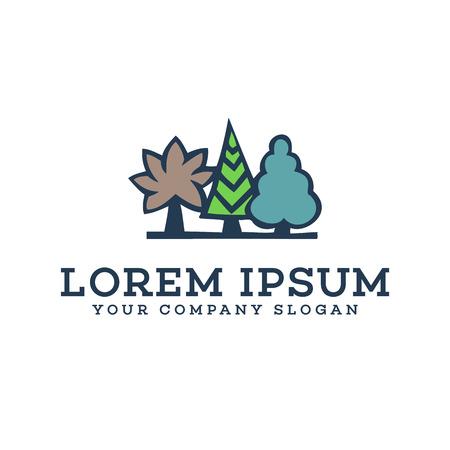 Tree landscaping logo design concept template