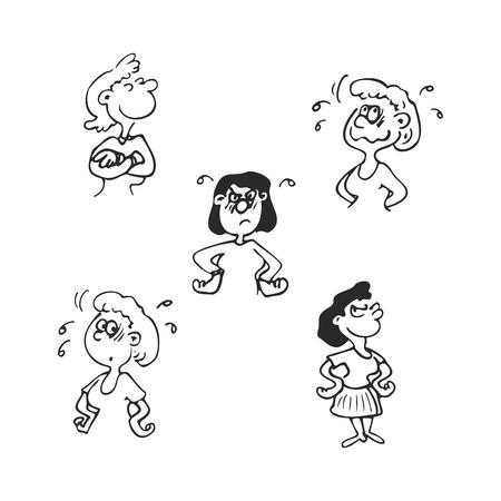 Emotions faces vector cartoon characters. Vector Illustration set Ilustração