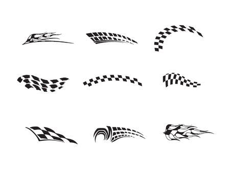 Vector of checkered racing flag splatters. Ilustracja