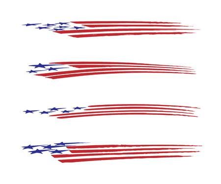 アメリカ国旗車両グラフィックのベクター イラスト セット