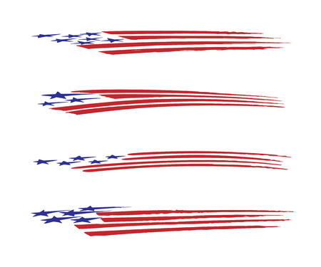 America flag vehicle graphic Vector Illustration set