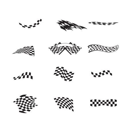 Vector of checkered racing flag splatters. Illustration