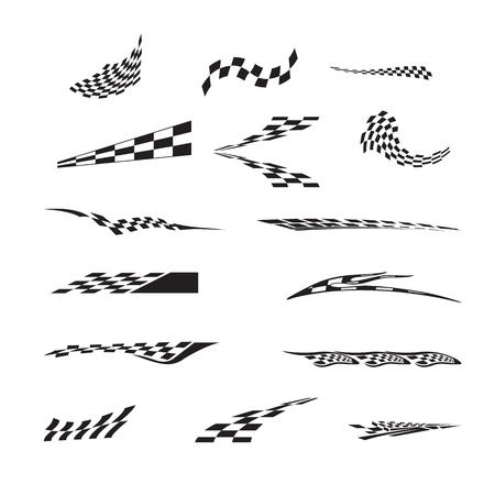市松模様のレース旗のベクトルが飛ぶ。