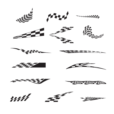 Vector of checkered racing flag splatters. Illusztráció