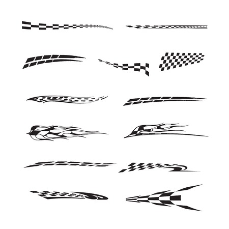 Vector of checkered racing flag splatters. Ilustração