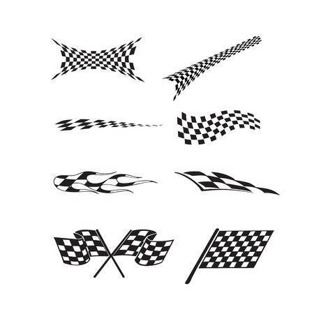 Vector of checkered racing flag splatters. 向量圖像