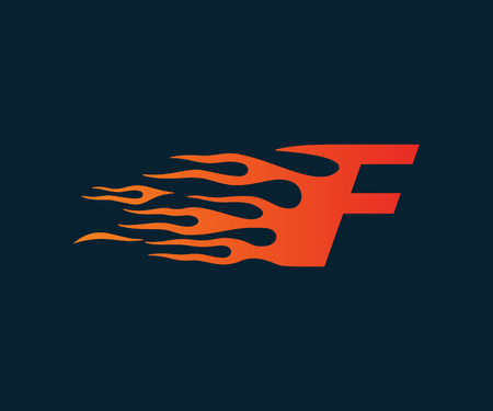 Letter F flame Logo. speed logo design concept template