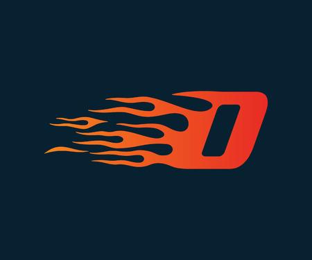 文字 D 炎のロゴ。スピードのロゴ デザイン コンセプト テンプレート