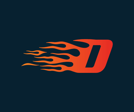 Letter D flame Logo. speed logo design concept template Illustration