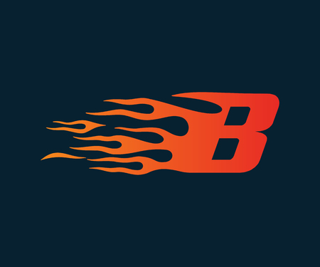 Letter B flame Logo. speed logo design concept template Illustration