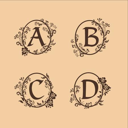 装飾文字 A、B、C、D のロゴデザイン コンセプト テンプレート