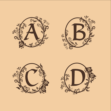 decoration Letter A, B, C, D logo design concept template