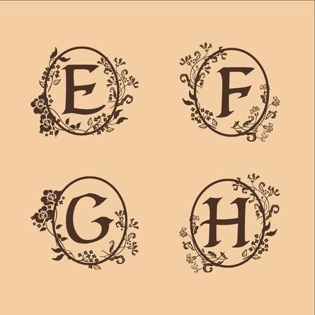 decoration Letter E, F, G, H logo design concept template Illustration
