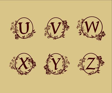 decoration Letter U, V, W, X, Y, Z logo design concept template