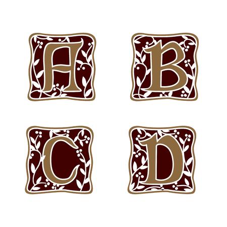 decoration Letter A, B, C, D logo design concept template