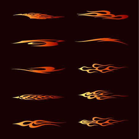 귀영 나팔, 차량 및 t- 셔츠 훈장 디자인을위한 부족 작풍에있는 화염 불. 차량 그래픽, 줄무늬, 비닐 준비 벡터 아트