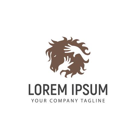 horse care logo design concept template