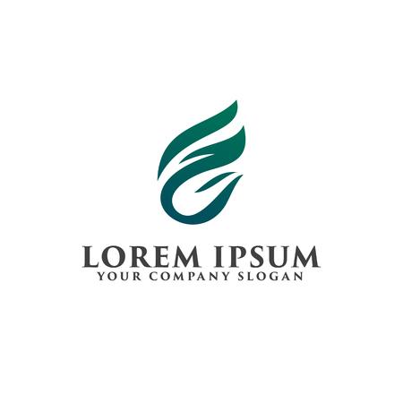 letter F leaf logo design concept template