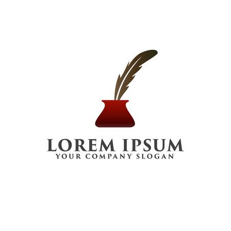 feather pen logo design concept template Illustration