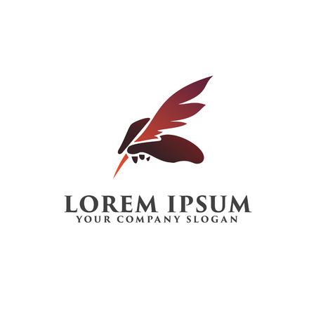 ロゴのデザイン コンセプトのテンプレートを保持している羽ペン