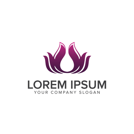 Lotus Flower Logo abstract Beauty Spa salon Cosmetics brand Linear style. Looped Leaves Logotype design vector Luxury Fashion template. Stock Vector - 83614886