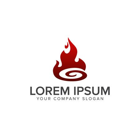 Modelo de la insignia de la llama. El petróleo y el logotipo de gas vector. diseño del vector del fuego. Foto de archivo - 83614885