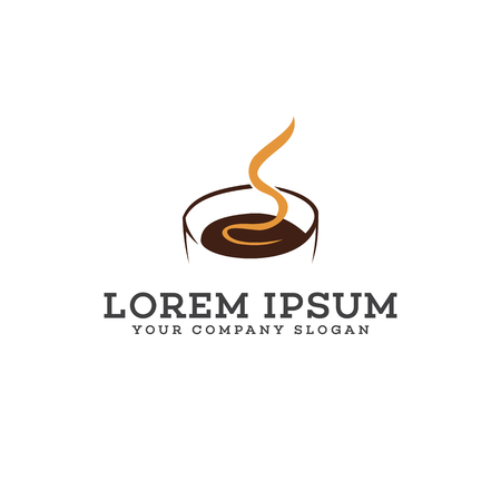 Hot Coffee logo design concept template Ilustrace