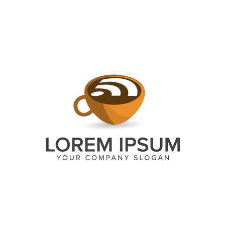 Coffee wireless logo. Food and Drink logo design concept template