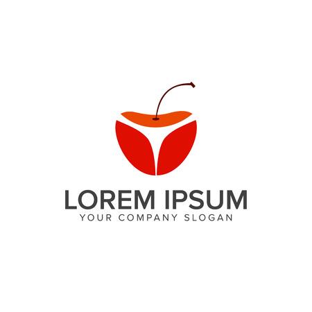 Cherry Fruit logo ontwerpsjabloon concept