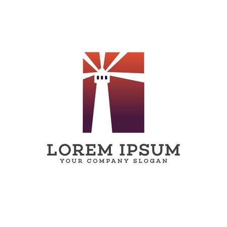 vuurtoren logo ontwerp concept sjabloon Stock Illustratie