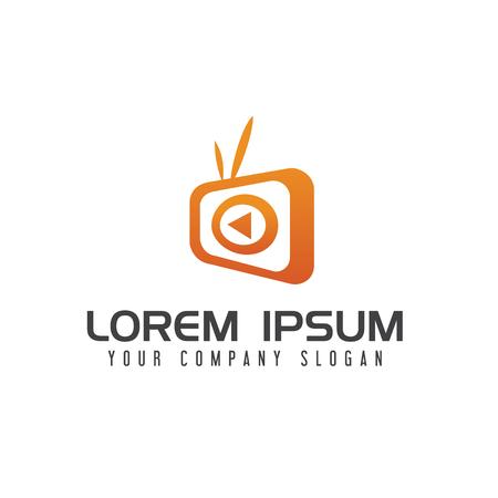 TV media logo design concept template
