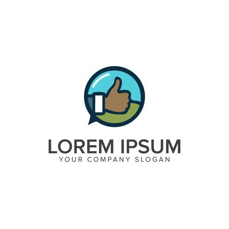 Hand tumb Logo design concept template