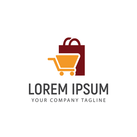 Shopping bag and carriage logo design concept template