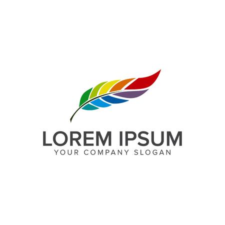 feather leaf Logo. Multicolor design concept template Stock Illustratie