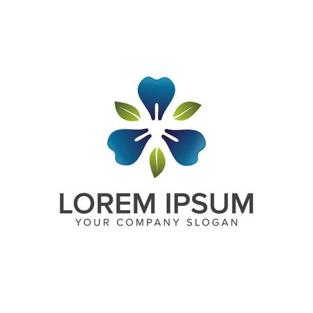 Dental leaf logo design concept template