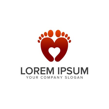 Modello di concetto di progettazione di logo di amore di gamba
