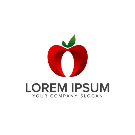 Apple Fruit Logo. 3d design concept template