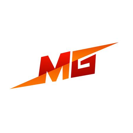 手紙 MG ロゴ デザイン コンセプト テンプレート