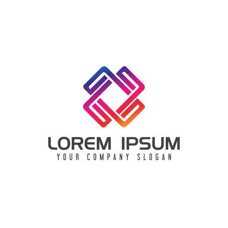 modern square Media logo vibrant color design concept template