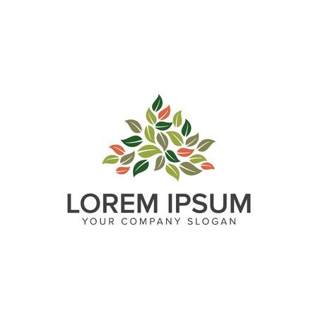 Leaf gardening logo design concept template