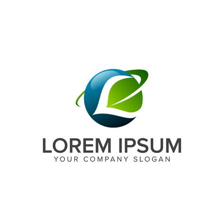 グローバル リーフ ロゴ デザイン コンセプト テンプレート  イラスト・ベクター素材