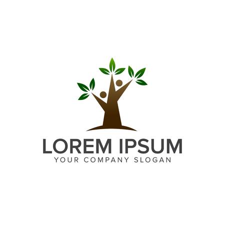 Tree people logo design concept template