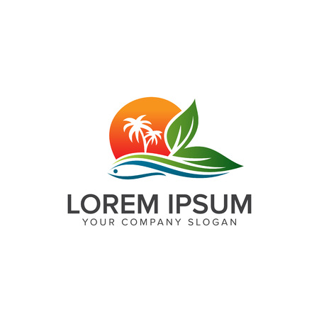 Landscape summer Logo design concept template