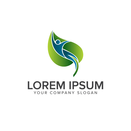 Modelo de conceito de design de logotipo de folha de pessoas naturais