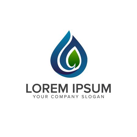 Drop leaf logo design concept template